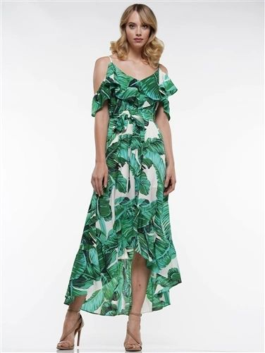 Tropical Ruffles Cold Shoulder Dress