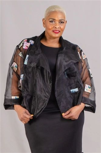 Sheer Embroidered Applique Open Jacket
