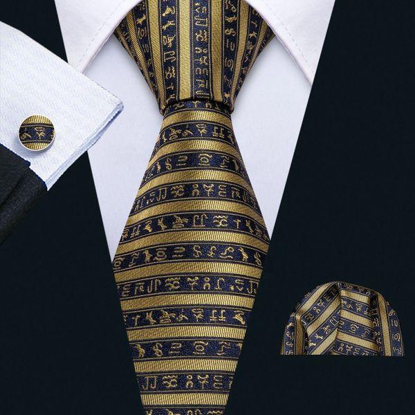 Egyptian Hieroglyphic Design NeckTie with matching hankie and cuff links