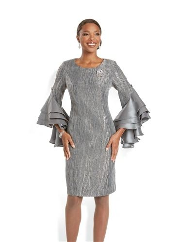 Fabulous Chemise Shimmer Dress with Ruffle Sleeves