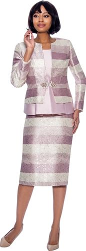 Suzanne Shimmer Silk Striped Design 3pc. Skirt Suit