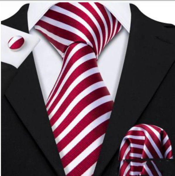 Red White Striped Necktie with matching hankie and cufflinks