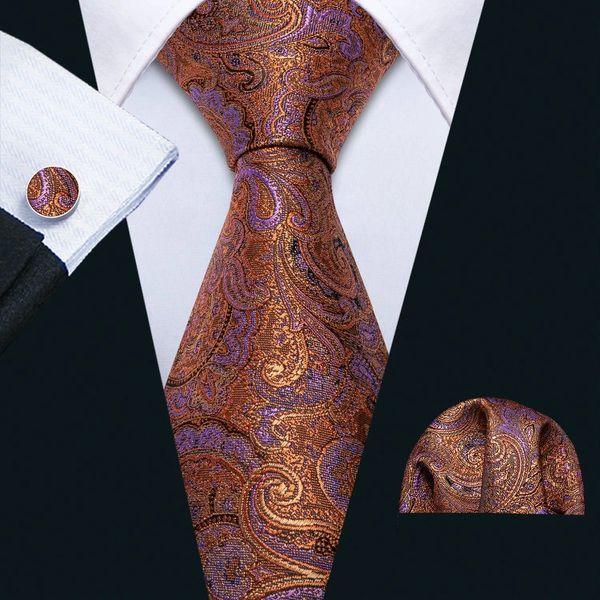 Copper Bronze Necktie with matching hankie and cufflinks
