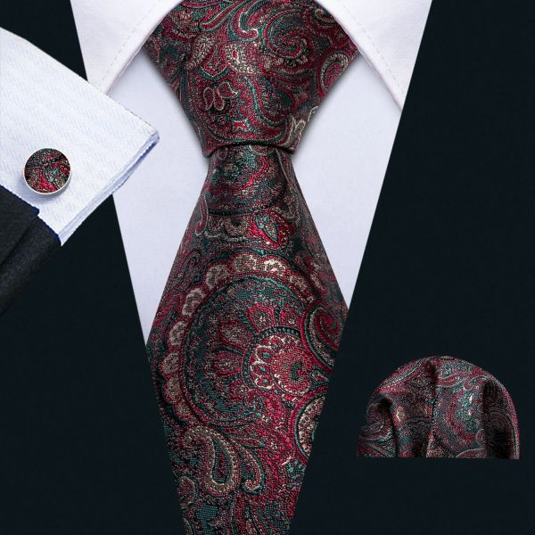 Wineberry Paisley Green Accent Necktie with matching hankie and cufflinks