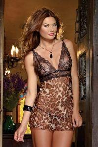 DLL8450 Sheer Lace Leopard Lingerie
