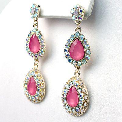 DL469302 3 inch Long Crystal Drop Earrings