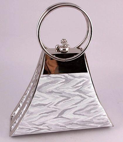 Silver Wave design Clutch Purse