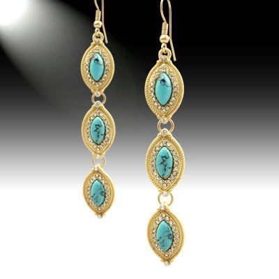 Turquoise Stone with Crystal accent Earrings