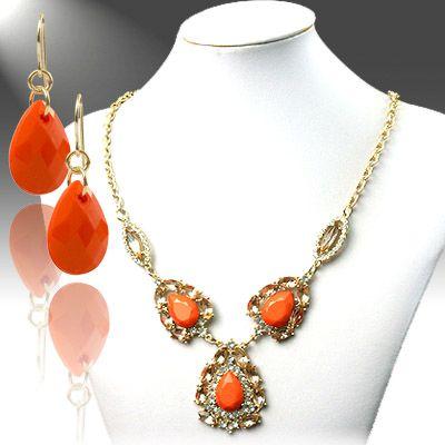 DL921401 Coral Hollow Necklace Set