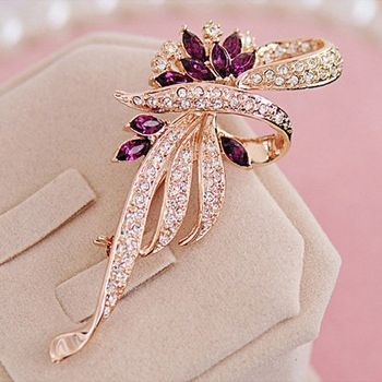 DL532349 Amethyst Gem Diamond Accent Brooch