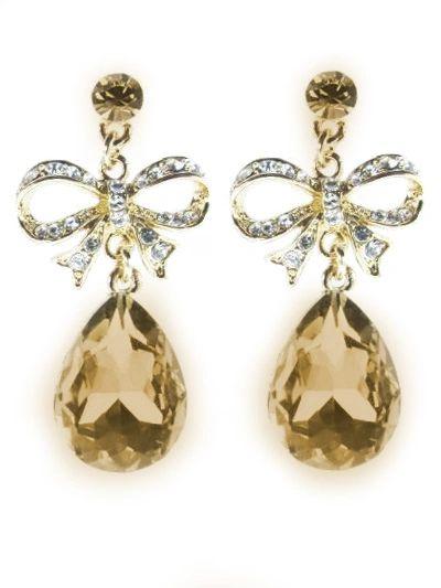 DL20753 Bow Tie Crystal Earrings