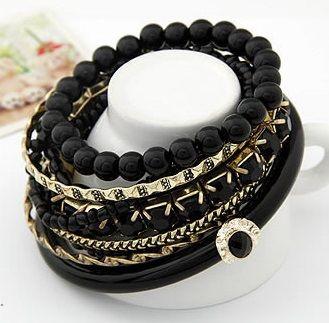 DL23508174 Girls Beaded Alloy Bangle Bracelet