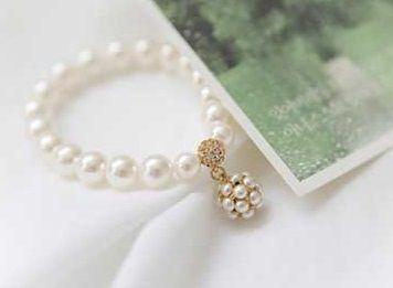 DL88856142 Elegant Bridal Charm Pearl Bracelet