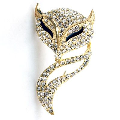 DL218302 Fox in Diamonds Brooch
