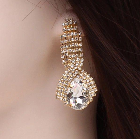 Twisted Rhinestone Large White Crystal Earrings