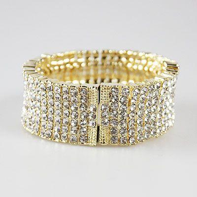 DL132602 Elegant Rhinestone Magnetic Clasp Bracelet