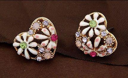 Painted Flower Rhinestone Pierced Earrings