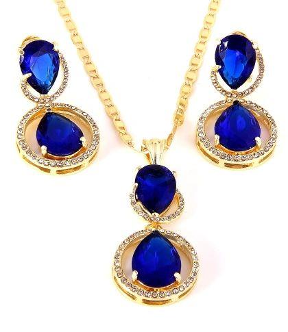 08276137 Sapphire Pendant necklace set