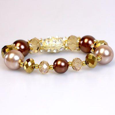 DL594103 Bronze Pearl & Crystal Bracelet