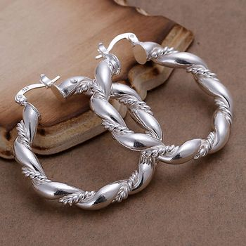 DL156925 .925 Sterling Silver Twisted Rope Design Earrings