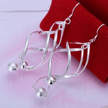DL165925 .925 Sterling Silver Spiral design Earrings