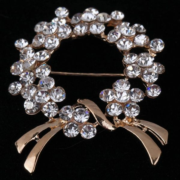 532099 Rhinestone Holly Brooch