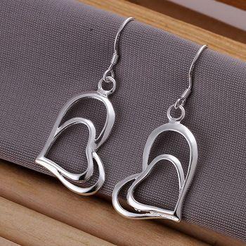 DL165999 .925 Sterling Silver Double Heart Earrings