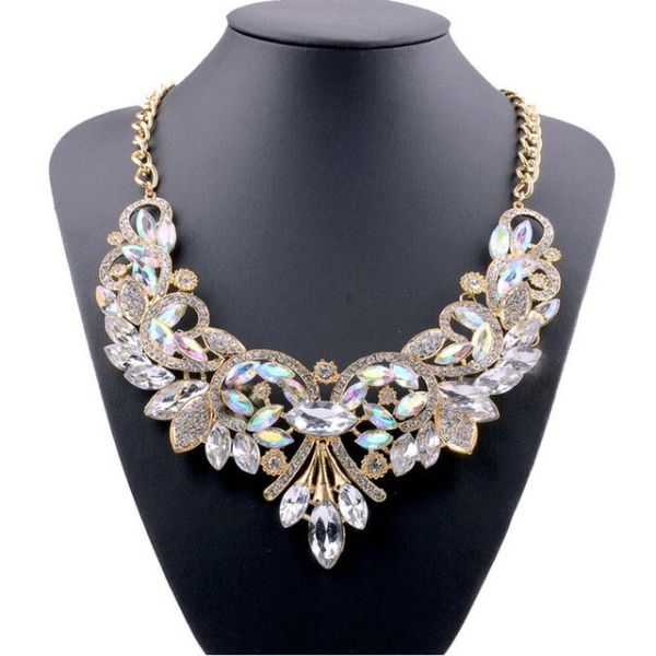 688538 Fleur-de-lis Jeweled Rhinestone Necklace