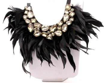 Jeweled Feathers Collar Necklace