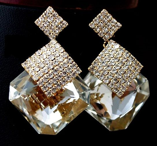 DL296582370 Designer Statement Crystal Rhinestone Earrings
