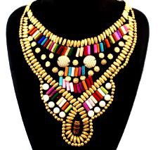 3521302 Authentic Africa Ethnic Beaded Overlay Necklace