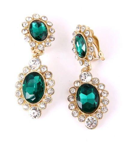 DL112108004 Crystal Rhinestone Long clip on Earrings