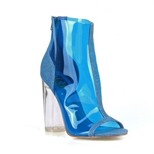 DLS0034390 CLEAR BLUE DENIM BOOTIES SHOES
