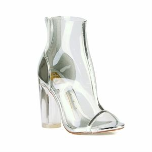 DLS0034387 Clear Silver Designer Booties