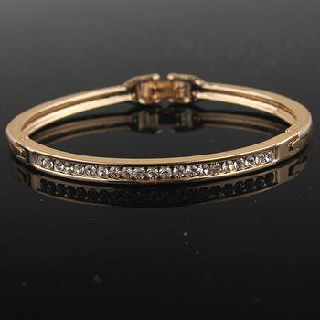 Gold Austrian Crystal Bangle Bracelet