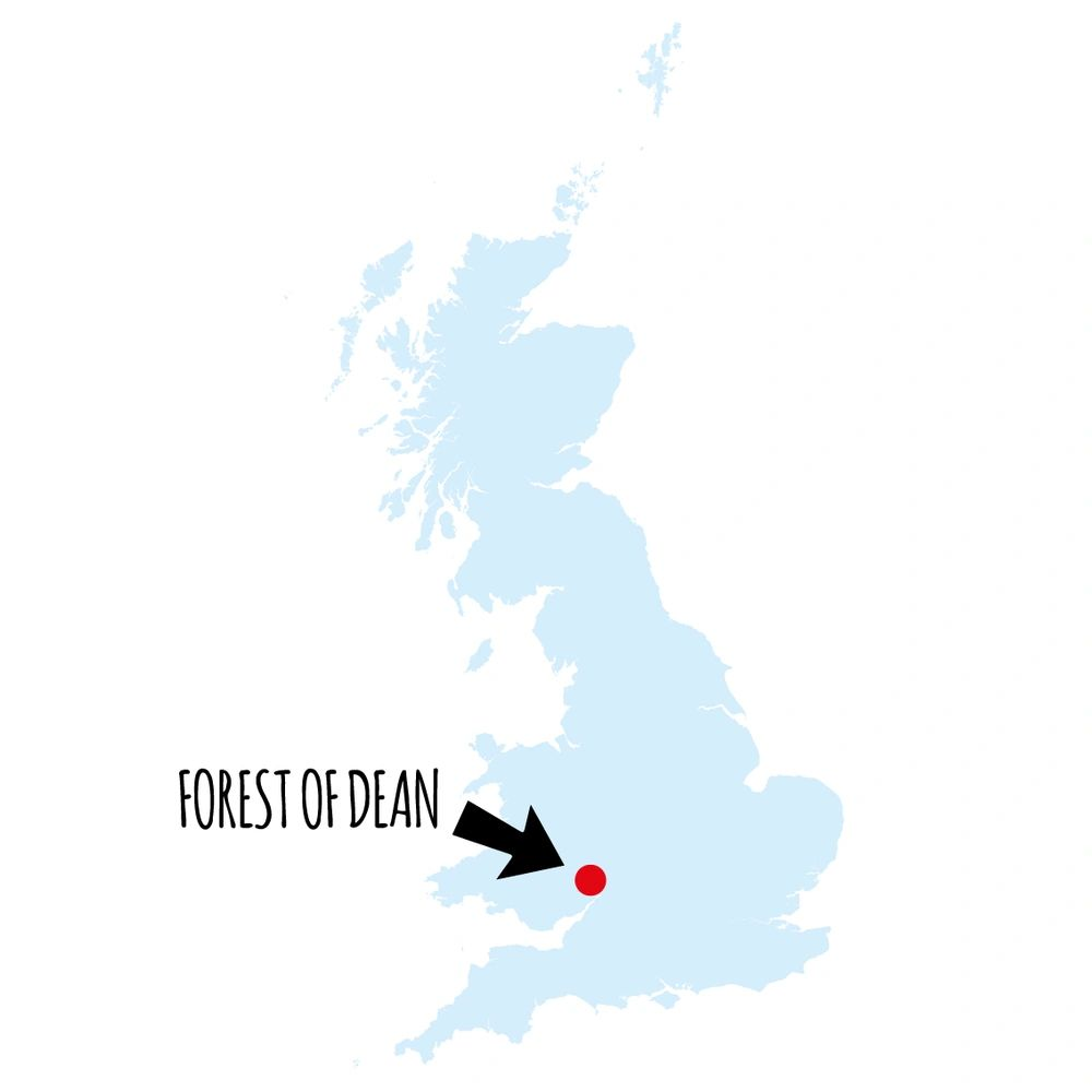 Location of the Royal Forest of Dean in relation to Britain