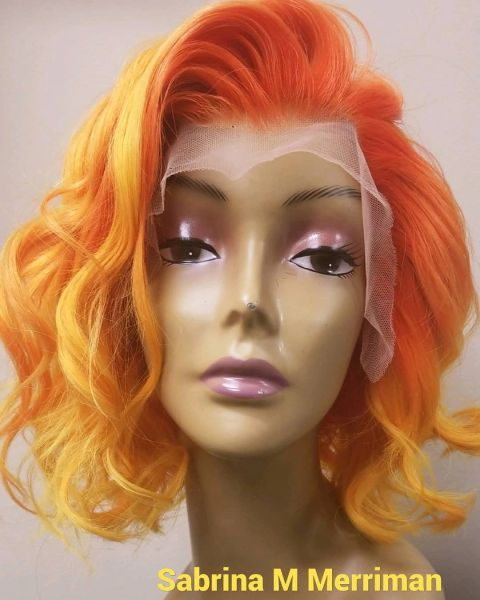 "Customized 10"" Bob Lace Front Orange and Yellow"