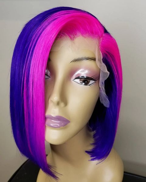 Bob Customized unit 100% human hair Lace Front Purple and Fushia pink
