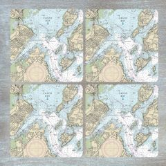 Nautical Chart Coaster Set - Choose your location