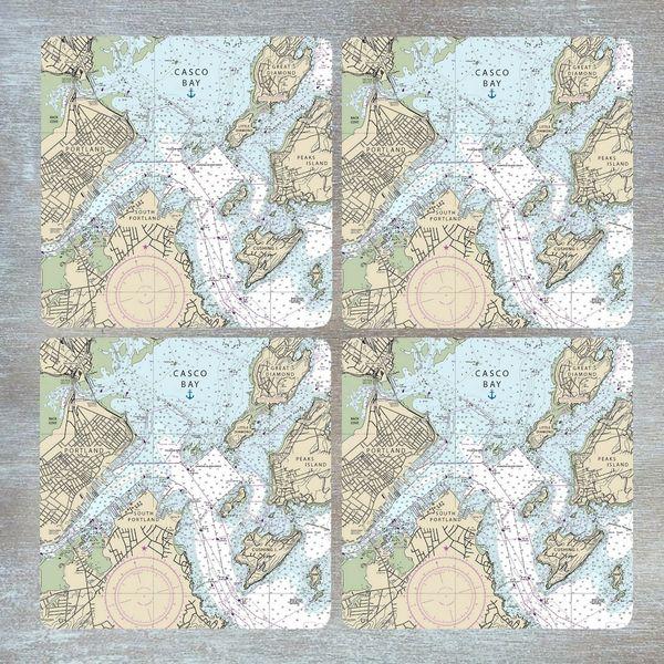 Nautical Chart Coaster Set - Choose your location