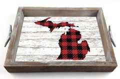Customizable Red Buffalo Check Serving Tray w/ Interchangeable Insert