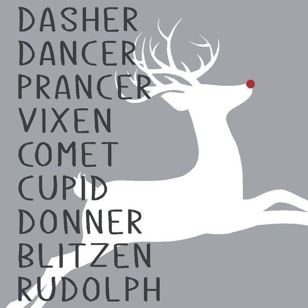 Santa's Reindeer - 4x4 Block