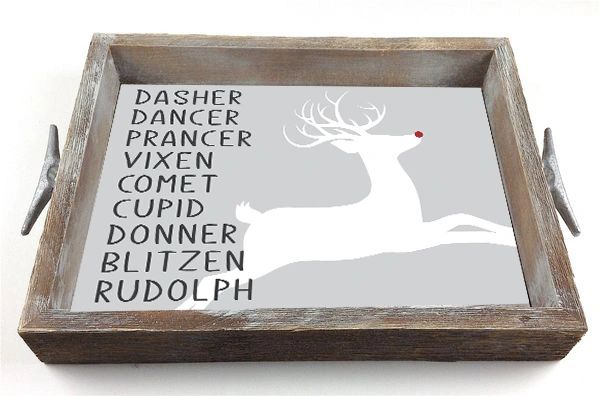 Santa's Reindeer - Interchangeable Insert Serving Tray