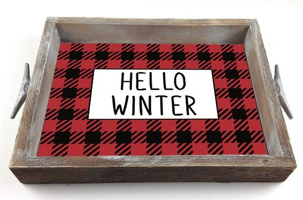 Hello Winter - Serving Tray w/ Interchangeable Insert