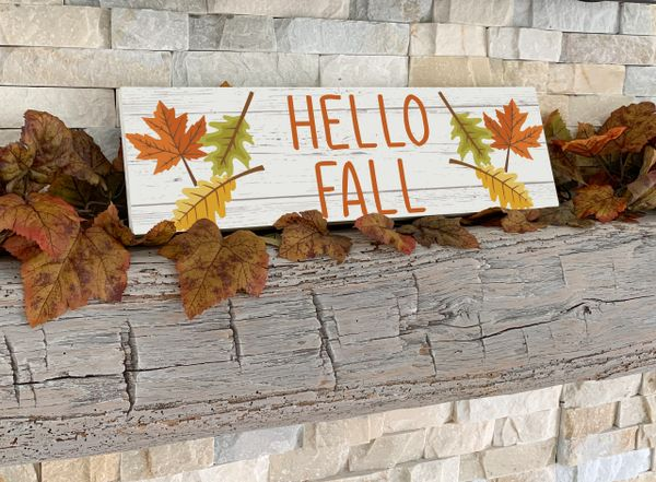 Hello Fall Leaves Sign