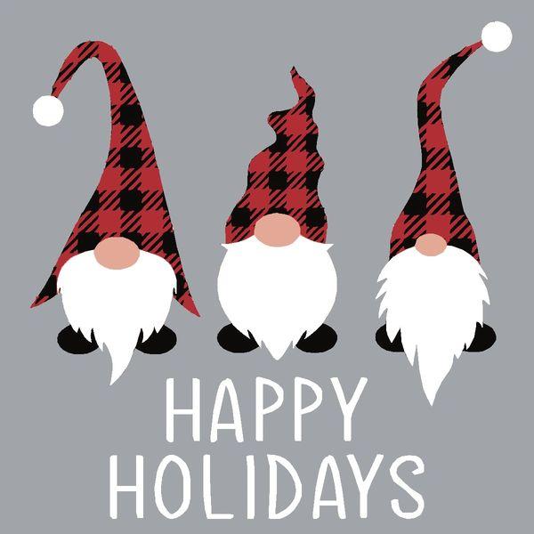 Happy Holidays Gnomes - 4x4 Block