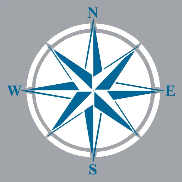 Compass Rose - Wood Block (4 colors)