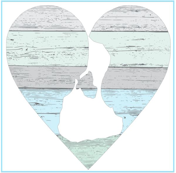 Pastel Heart - Wood Block (2 sizes)