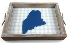 Customizable Blue & Grey Check Serving Tray w/ Interchangeable Insert