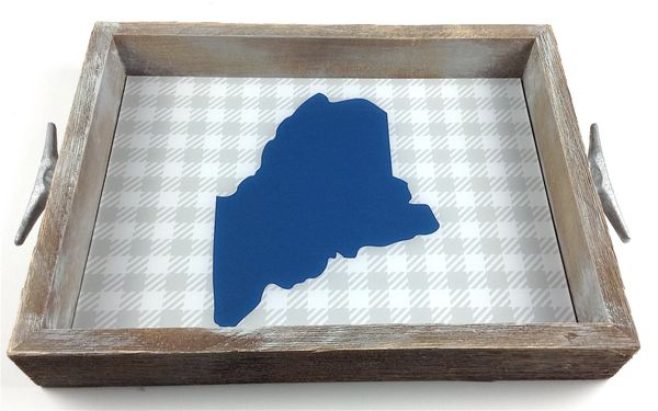 Blue & Grey Check (customize location) - Interchangeable Insert Serving Tray